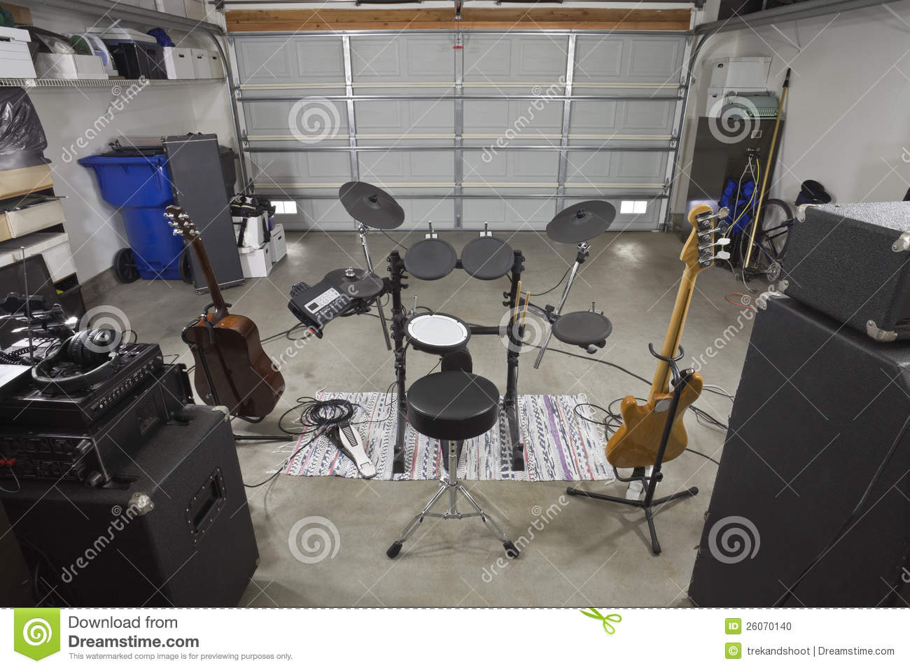 Garage Band Equipment Backstage View Stock Photo Image