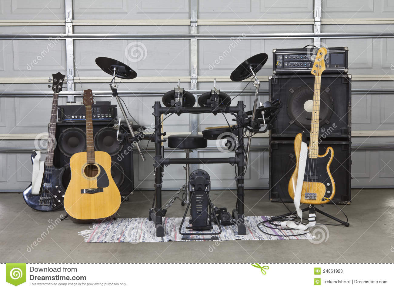 Garage band set up stock image of door bass