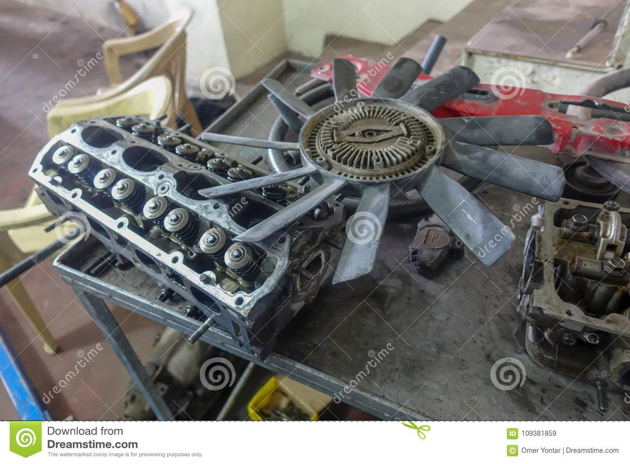 Garage and and car parts stock image. Image of parts - 109381859