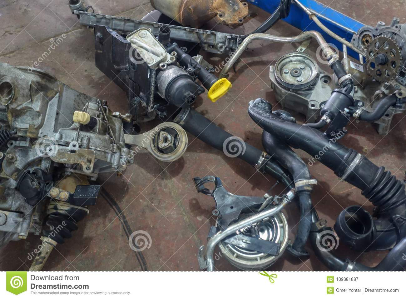 Garage and and car parts stock image. Image of powered - 109381887