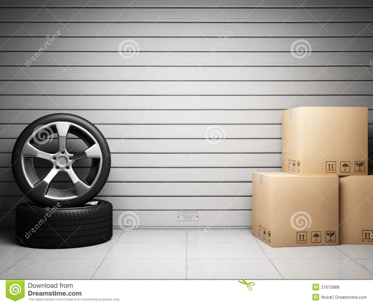 Garage With Car Spare Parts Royalty Free Stock Photos