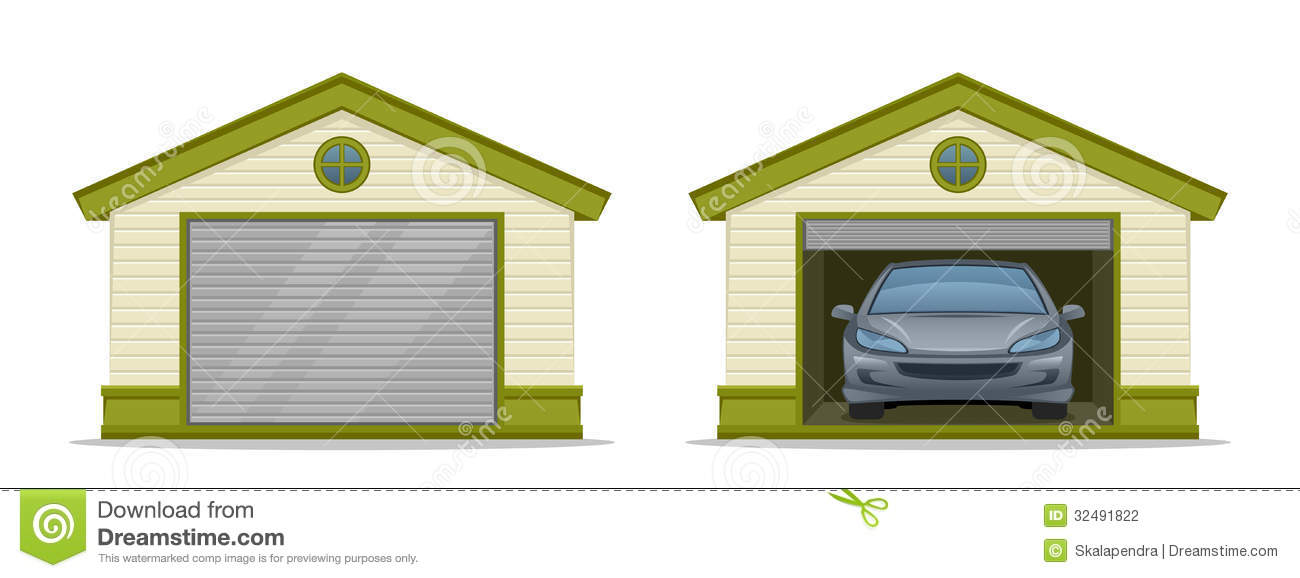 Garage With Car Stock Vector Image Of Outdoor Building