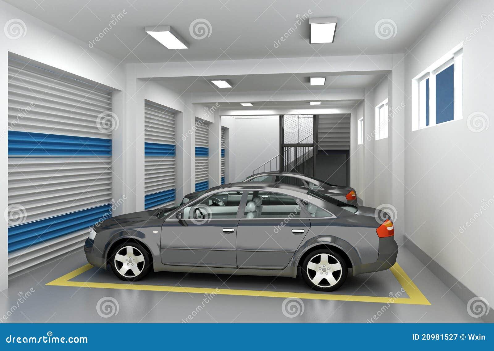 Garage de estacionamiento 3d fotograf a de archivo libre for 3 costo del garage indipendente
