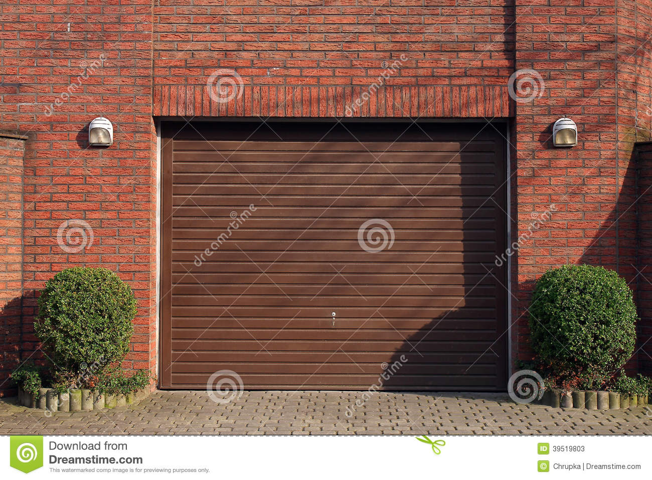 Garage Door In Brick Wall Stock Image Image Of Gate