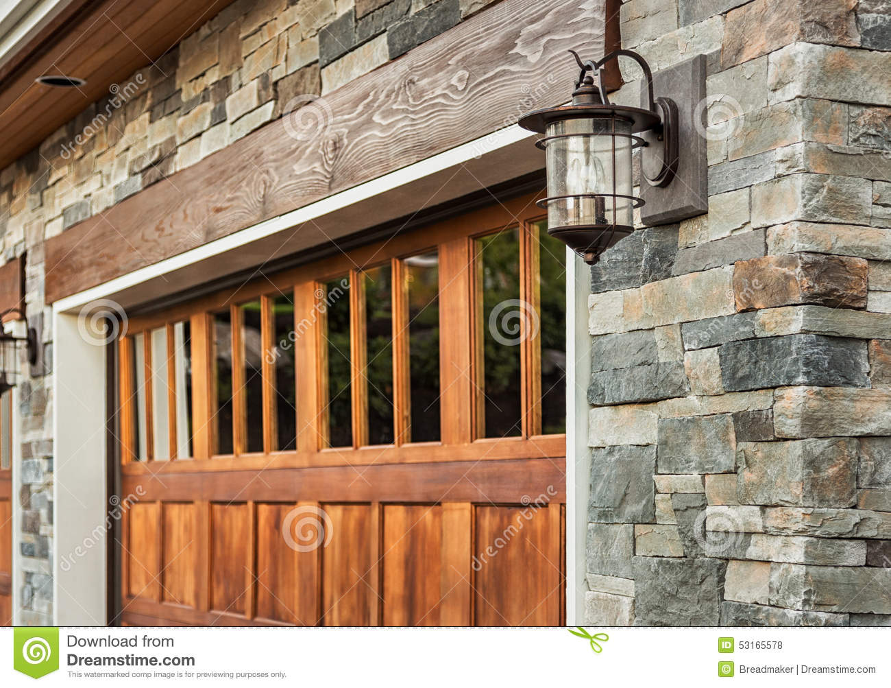 Garage Door Detail Of Luxury Home Stock Photo Image