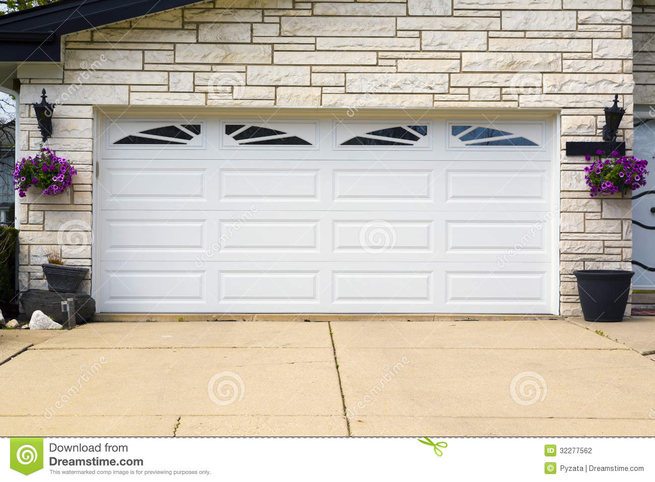 Garage door stock photo image of real steel residential for Two door garage