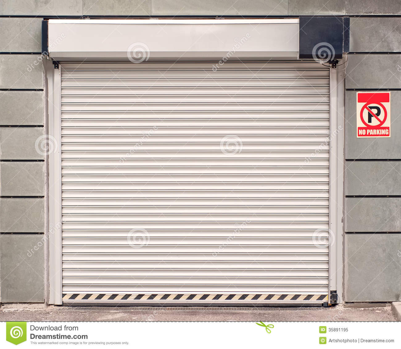 Garage Door With No Parking Sign