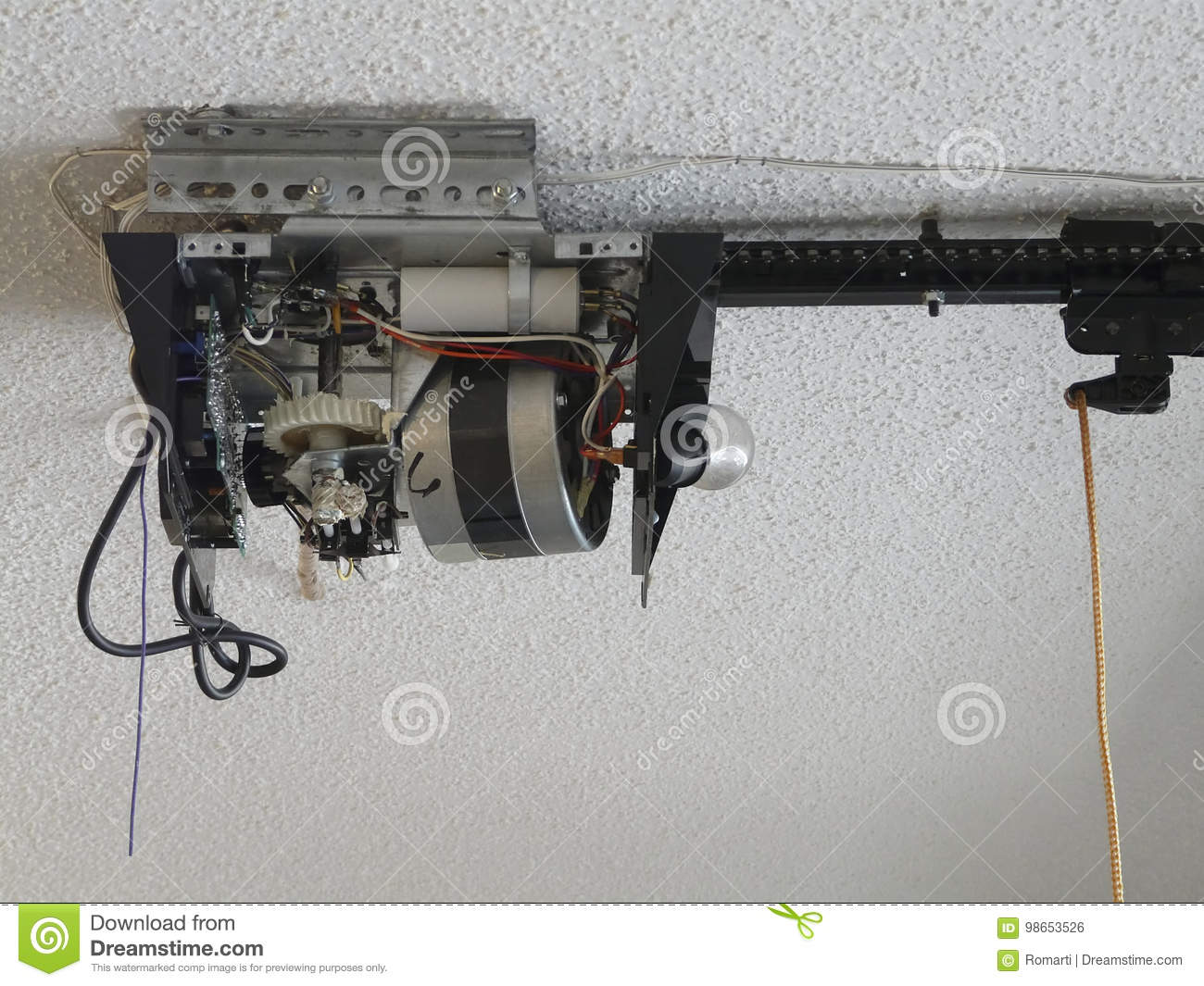 Garage door opener motor gear drive stock photo image for Garage door replacement motor