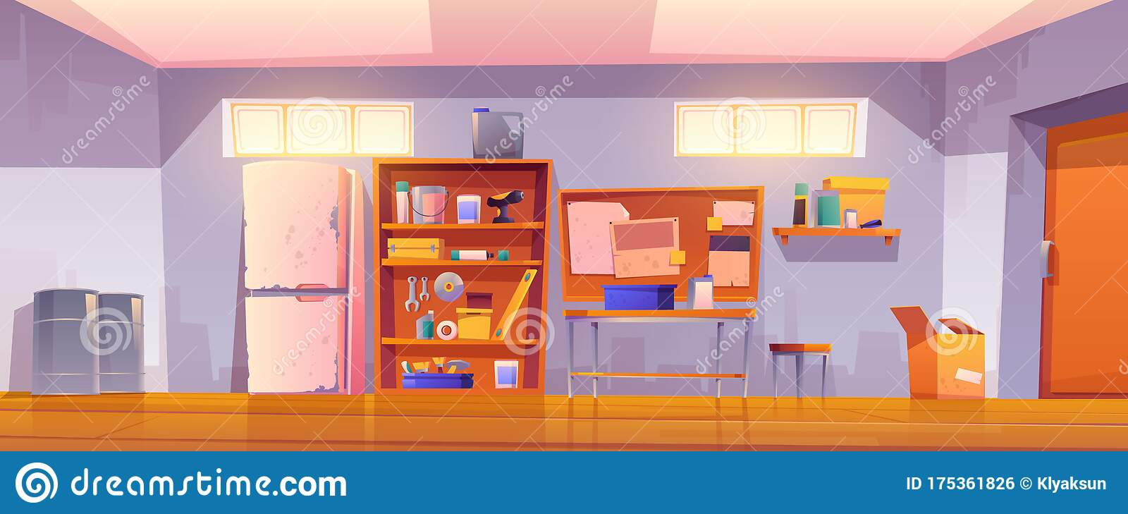 Garage Interior With Tools For Carpentry Works Stock Vector Illustration Of Dirty Furniture 175361826