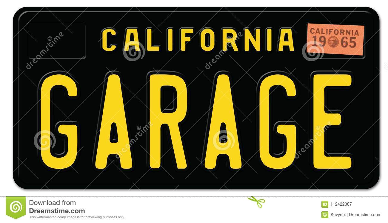 California License Plate Black Retro Garage Stock Illustration