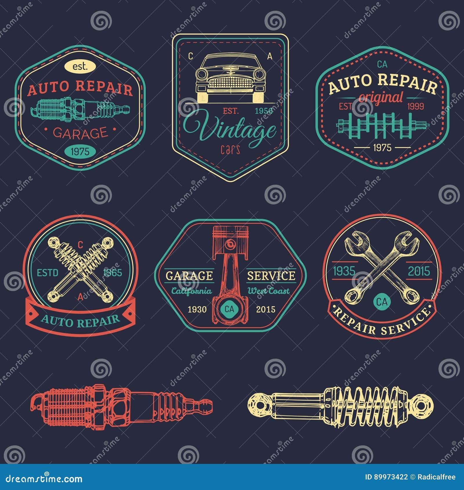 Garage Logos Set. Car Repair Emblems Collection. Vector