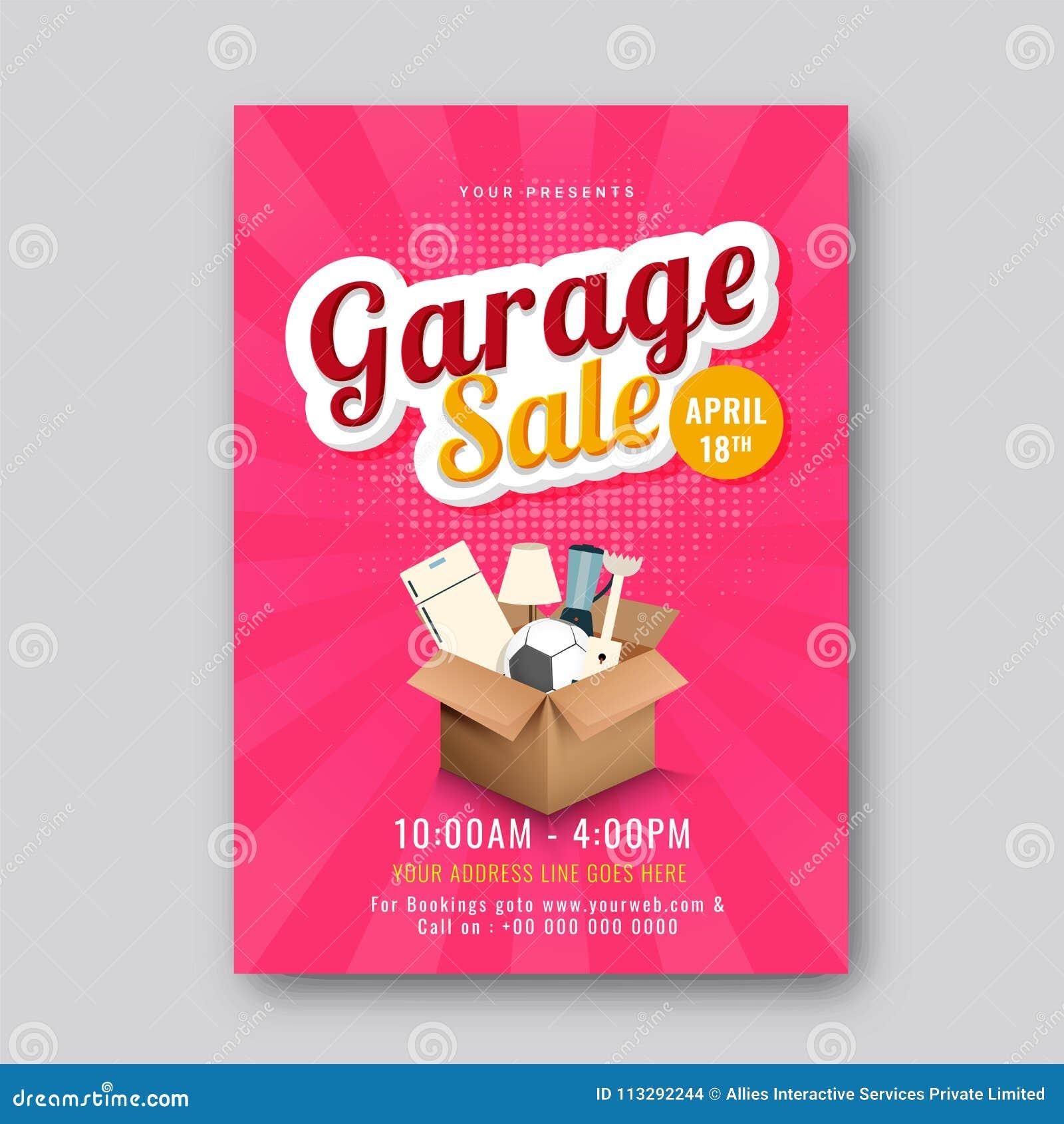 Garage ou affiche ou banne imprimable d annonce d événement de vente de bric-à-brac