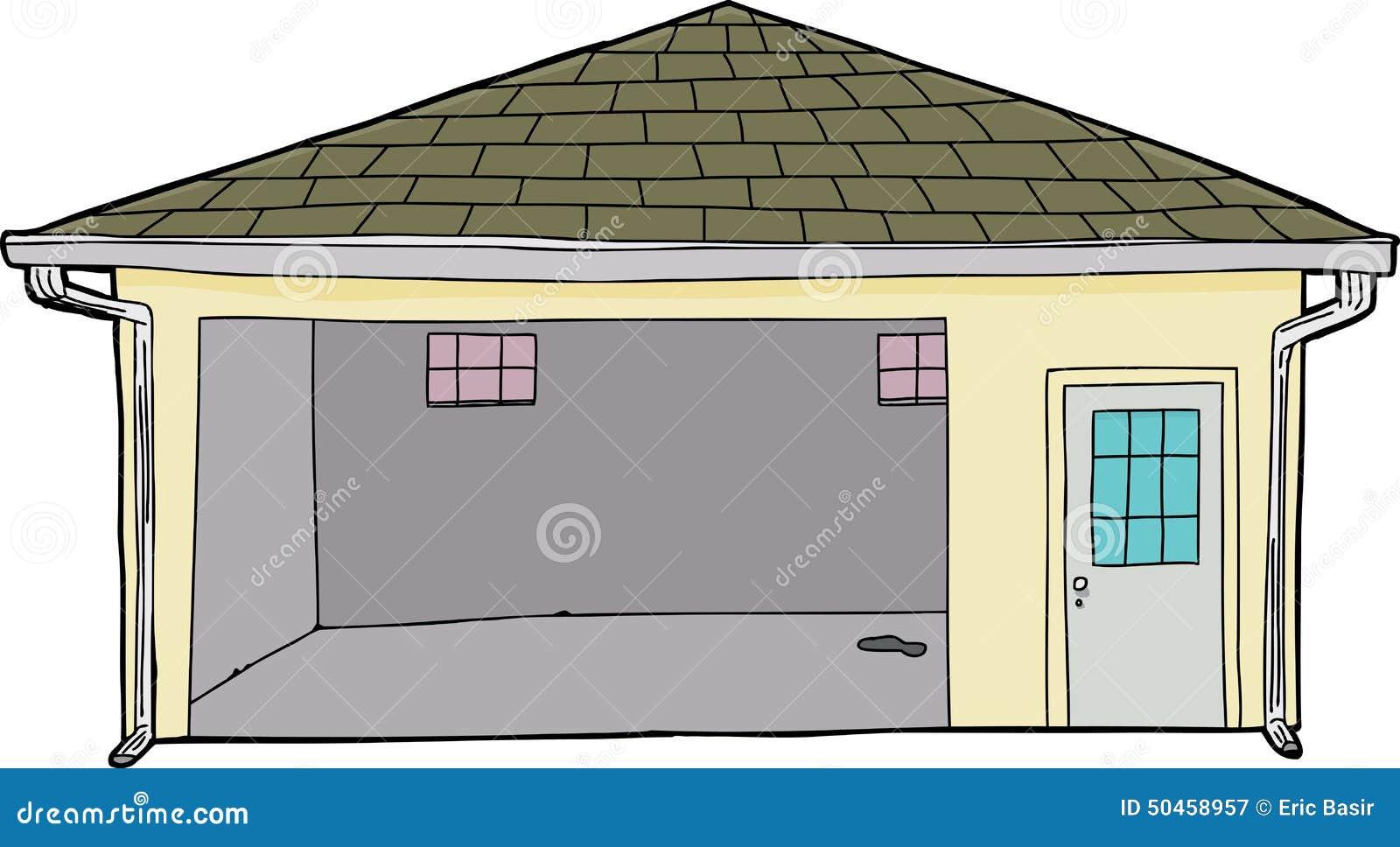 Garage ouvert simple d 39 isolement illustration stock - Garage ouvert ...