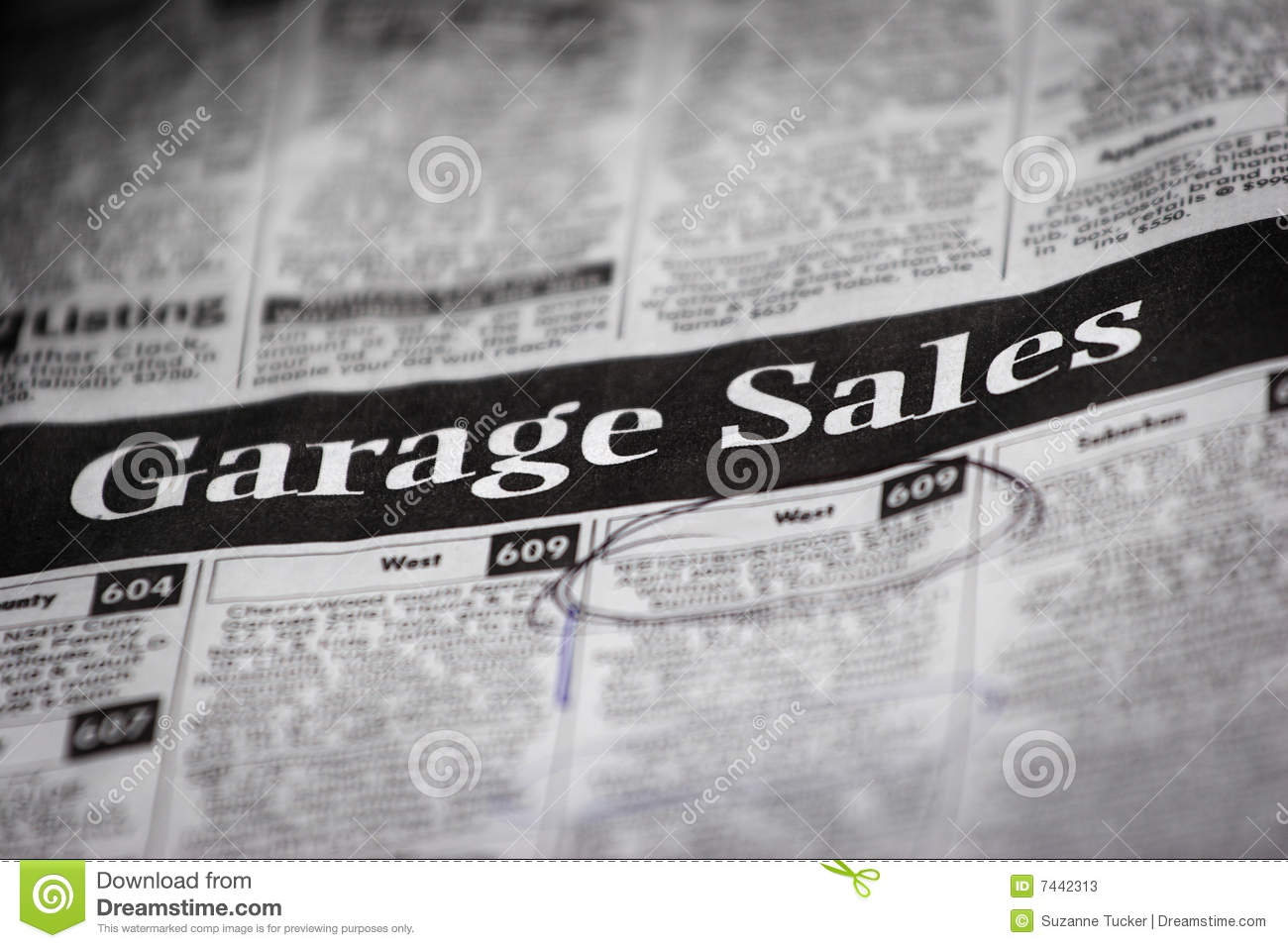 garage sale ads shallow depth of field stock image image of used