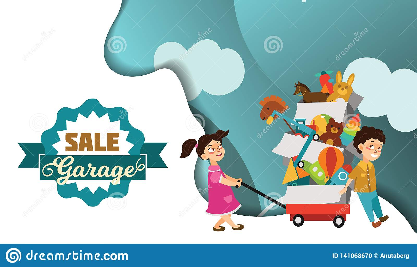 Garage Sale Boy And Girl Bought Toys At Spring Sale Children Carry