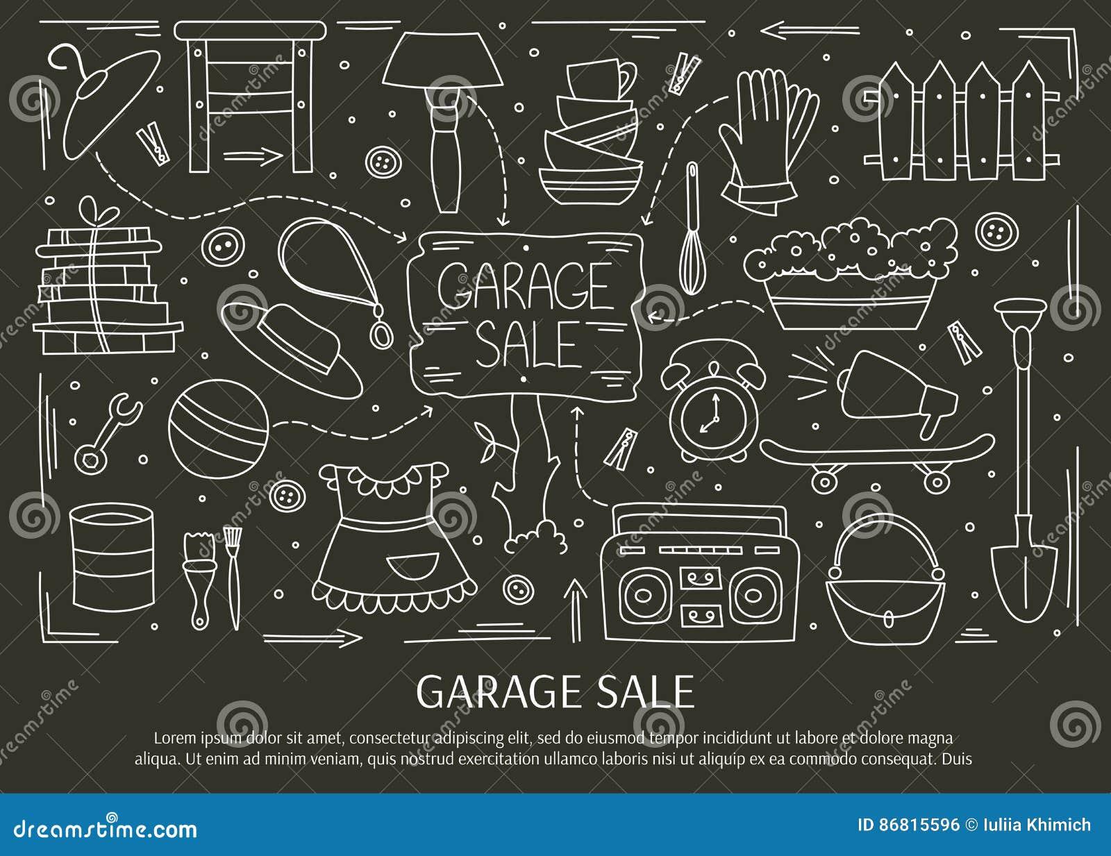 Garage sale elements stock vector. Illustration of design - 86815596