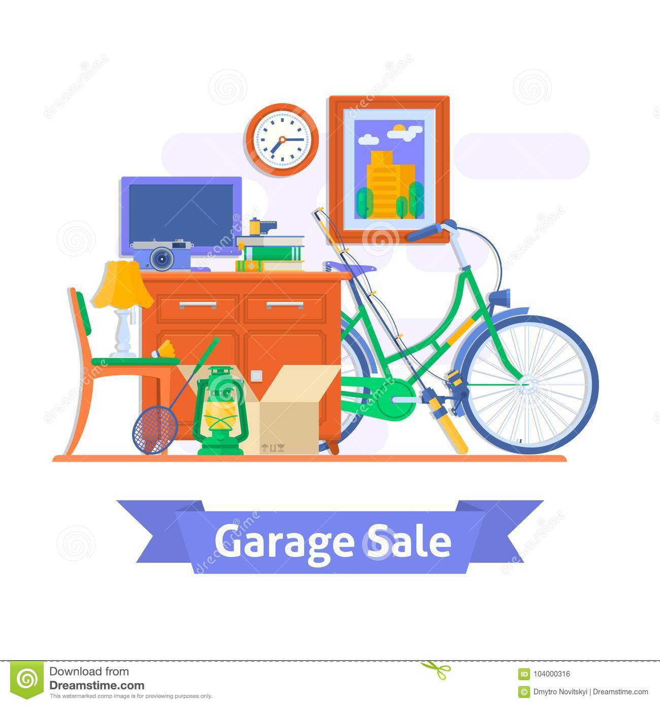 Garage Sale, Household Used Goods Flat Style Vector