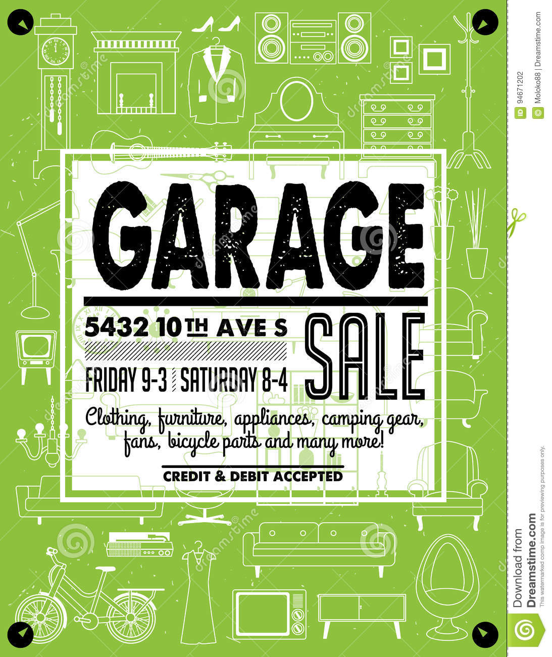 image about Printable Yard Signs known as Garage Sale Poster inventory vector. Instance of marketing