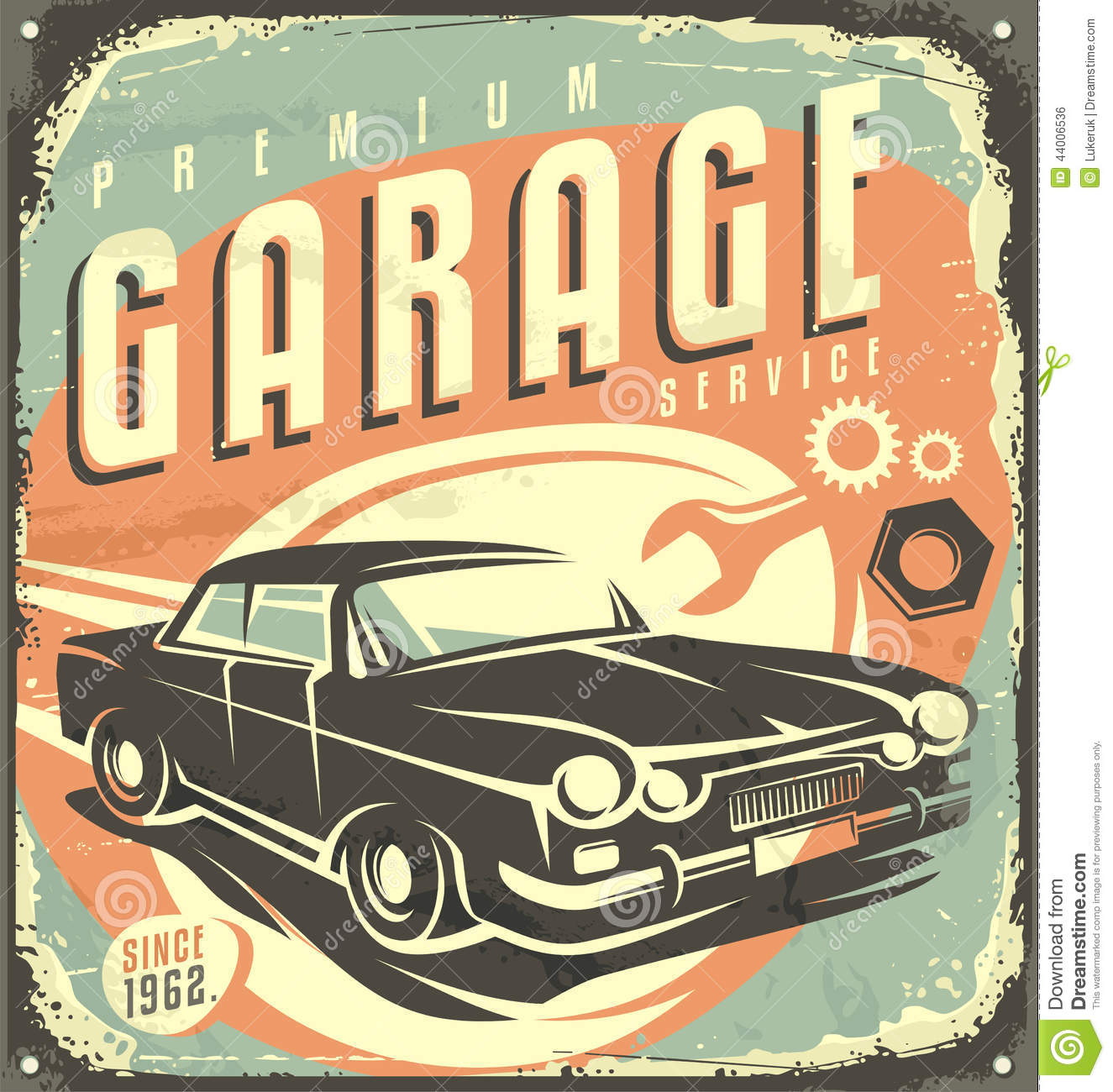 Vintage Tin Sign Automotive : Garage vintage metal sign stock vector illustration of