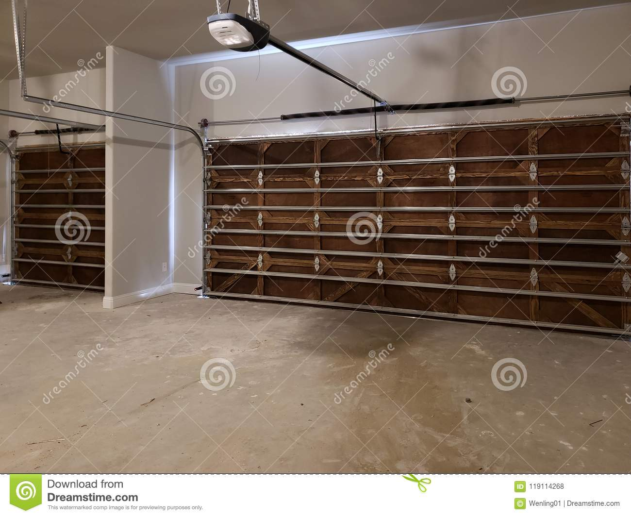 Garage With Wooden Door Design In A New House Stock Photo Image Of