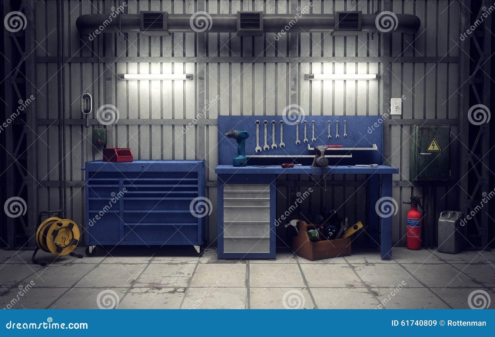 garage workshop 3d rendering stock illustration image 61740809 equipment garage workshop