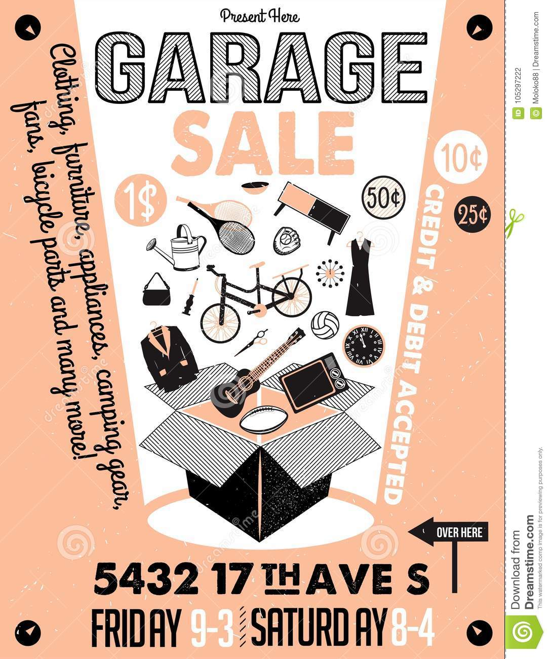 picture relating to Printable Garage Sale Signs titled Garage Or Back garden Sale With Signs or symptoms, Box And Loved ones Products