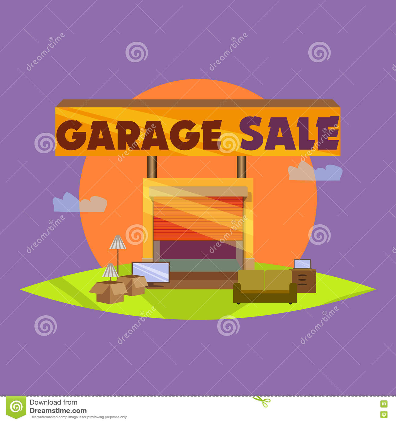 garage or yard sale with signs box and household items stock