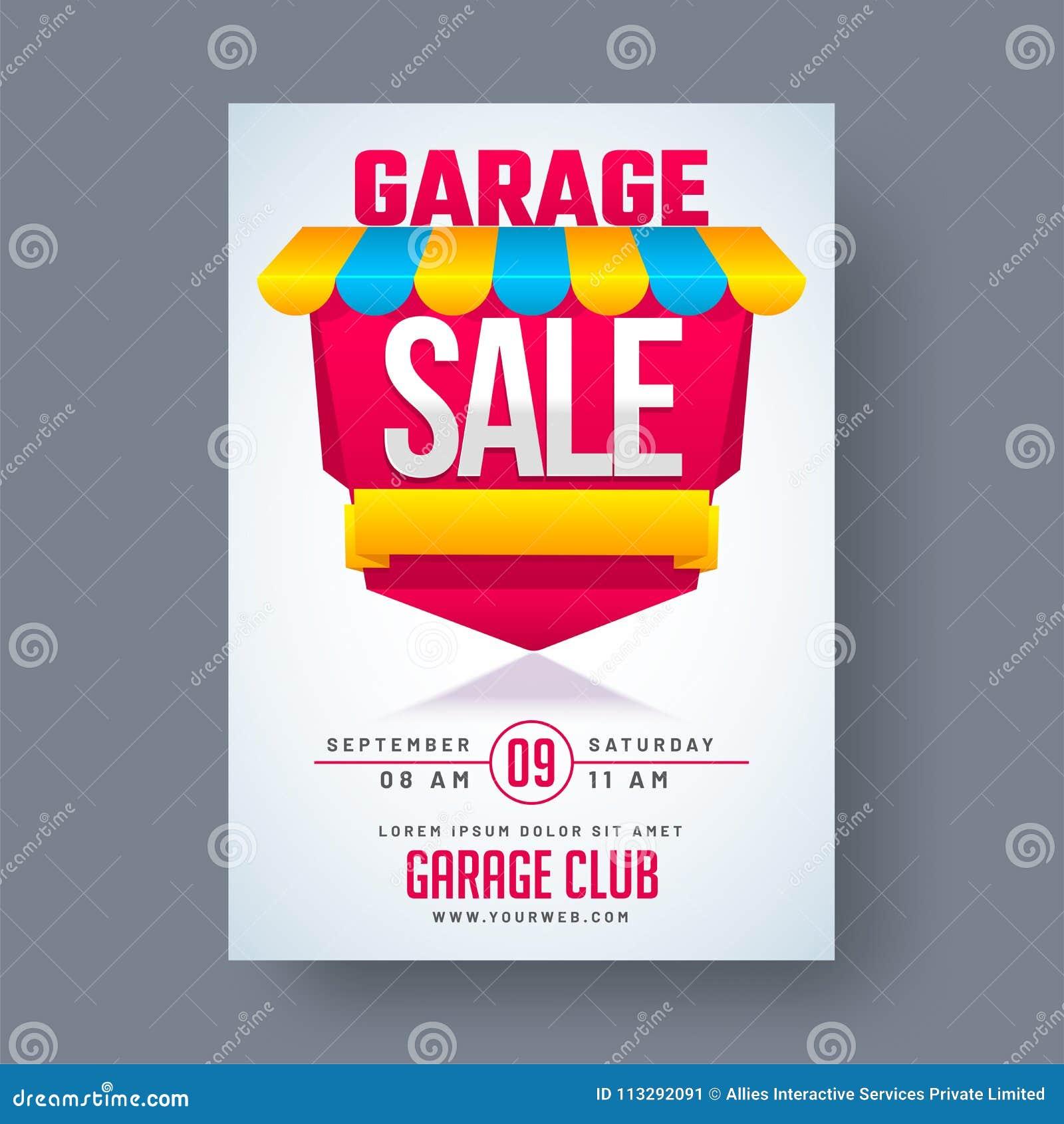 Garagem ou cartaz imprimível ou banne do anúncio do evento de venda de jardim