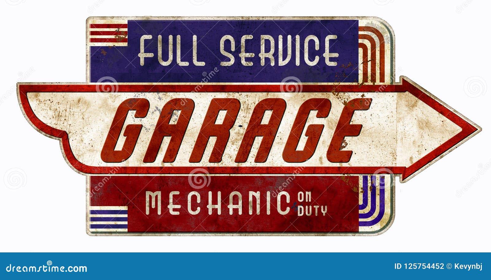 Garagem retro do vintage de On Duty Sign do mecânico