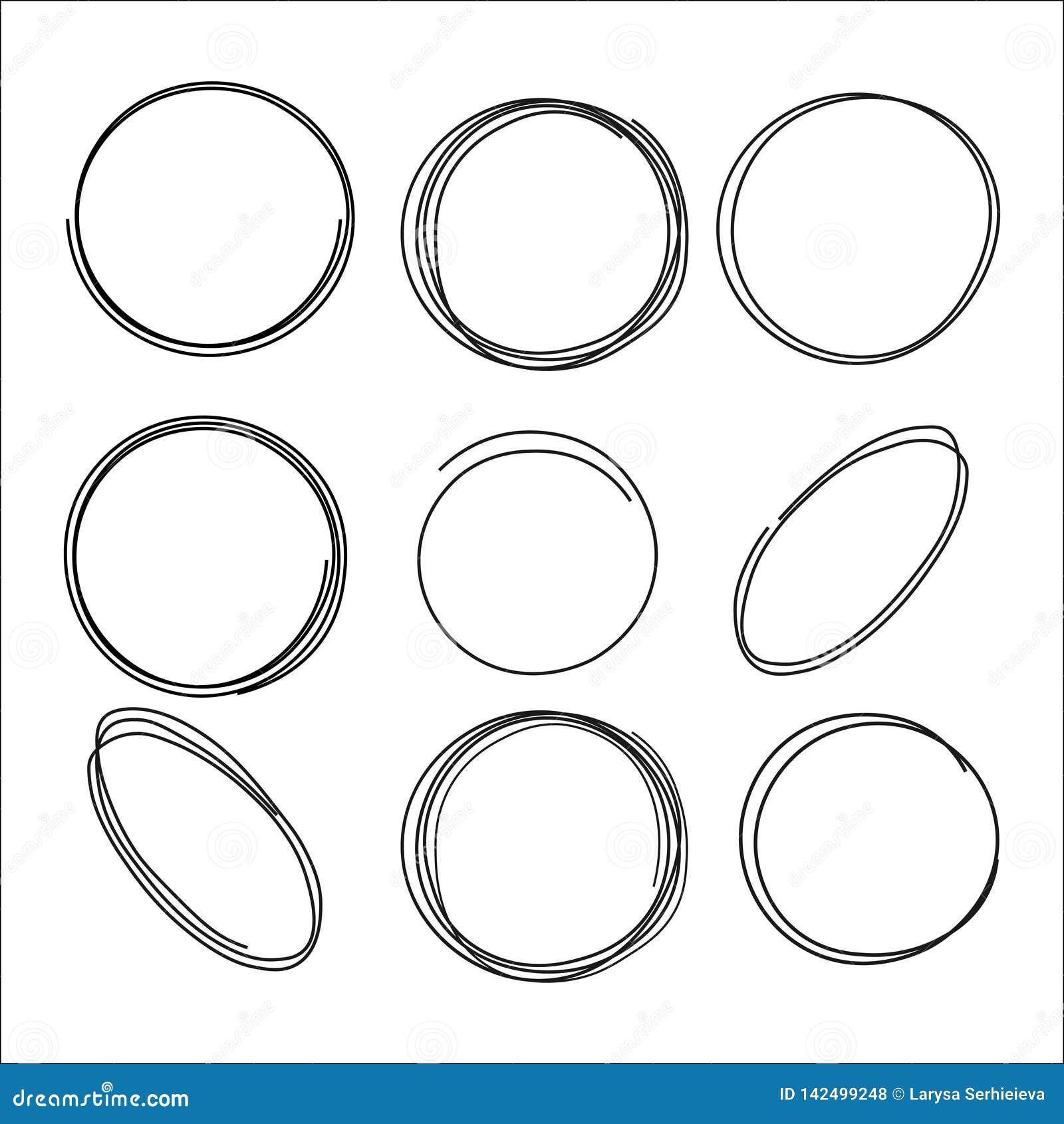 Garatuja circular do vetor, elipses, círculos para o texto, elemento do projeto