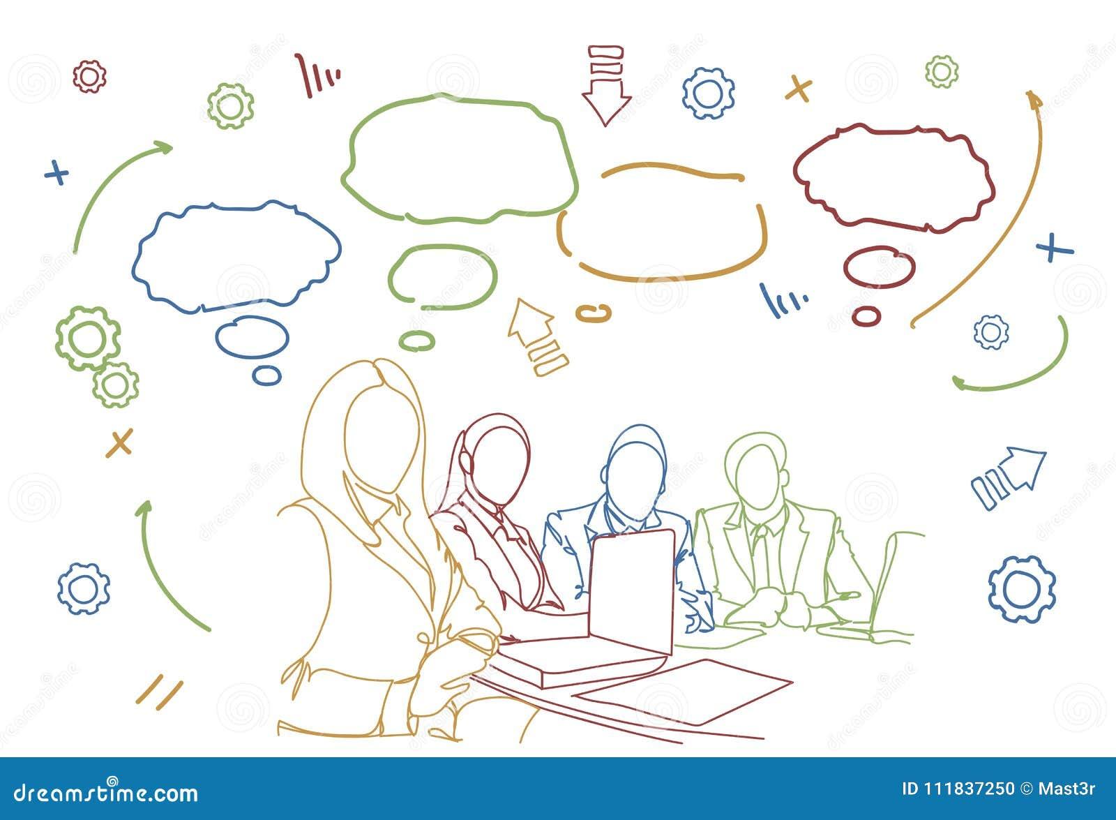 Garatuja da reunião executivos da discussão ou de sessão de reflexão de Team Sit At Desk Together Communication