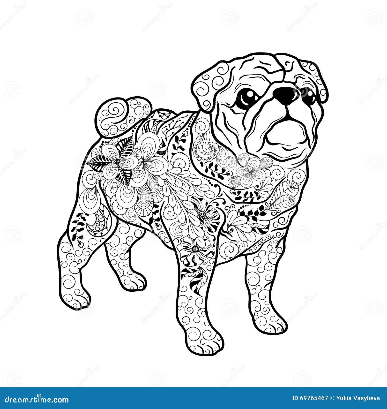 Garatuja do cão do Pug