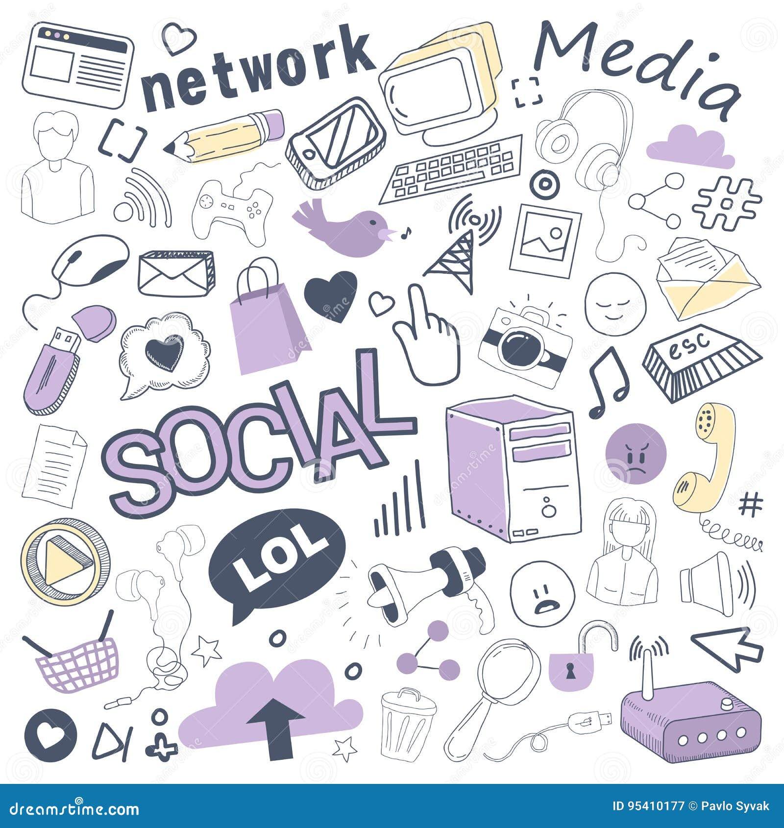 Garatuja tirada dos meios mão social com bolha, elementos de rede e computador Grupo a mão livre das tecnologias de comunicação