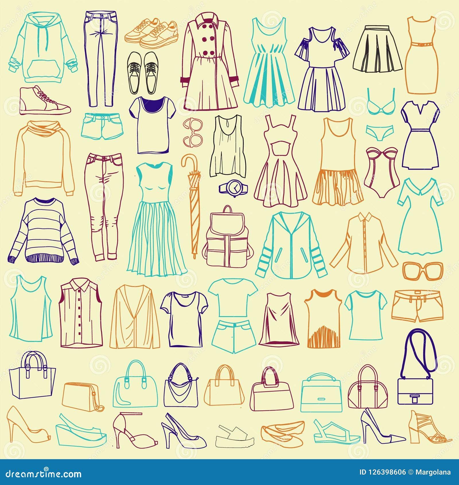 Garatujas da roupa e dos acessórios das mulheres elegantes