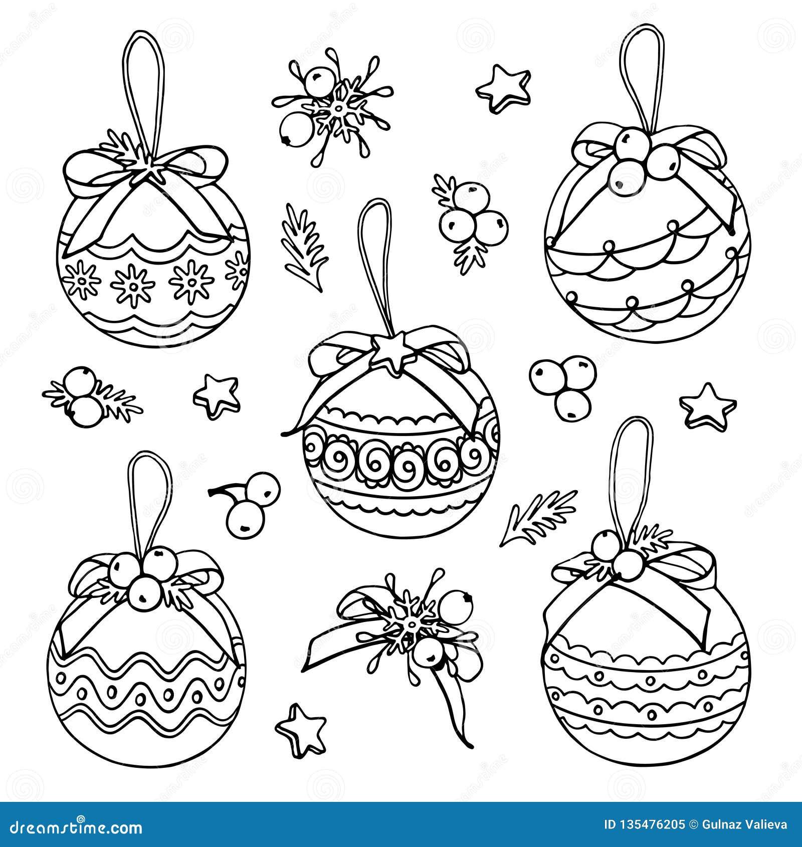 Garatujas do Natal do vetor com bolas, estrelas e bagas
