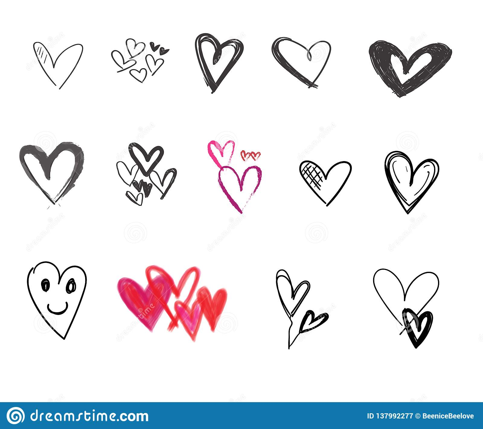 Garatujas grupo, ícones e ilustrações tirados mão dos corações do dia de Valentim para Valentim e casamento