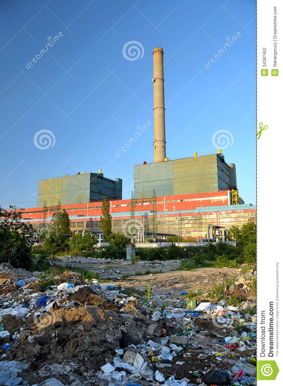 Garbage Around A Factory Stock Photo  Image Of Generator