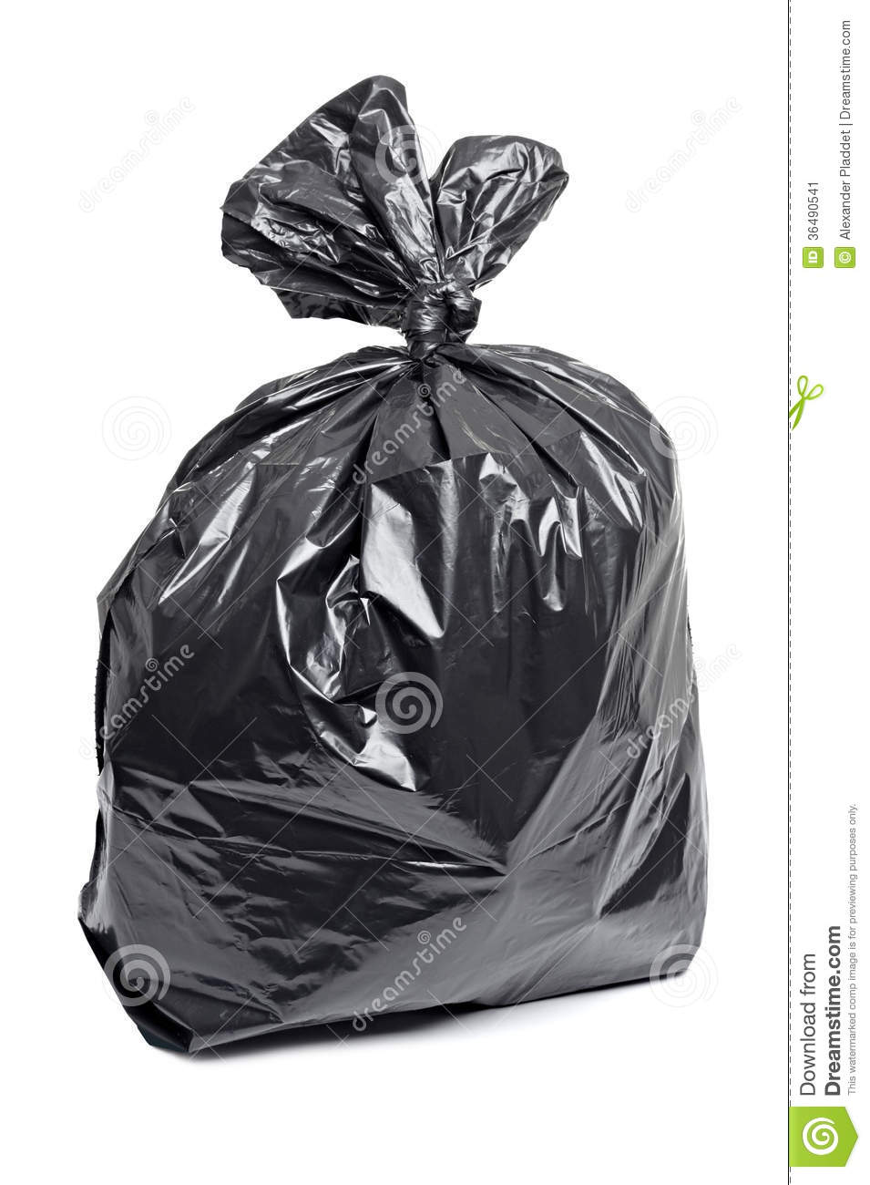 Black garbage bag, isolated on a white background. Full plastic ...