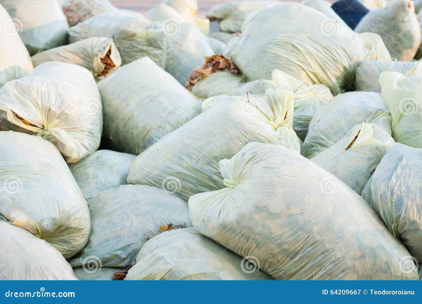 Garbage Bags Pile Stock Photo - Image: 64209667