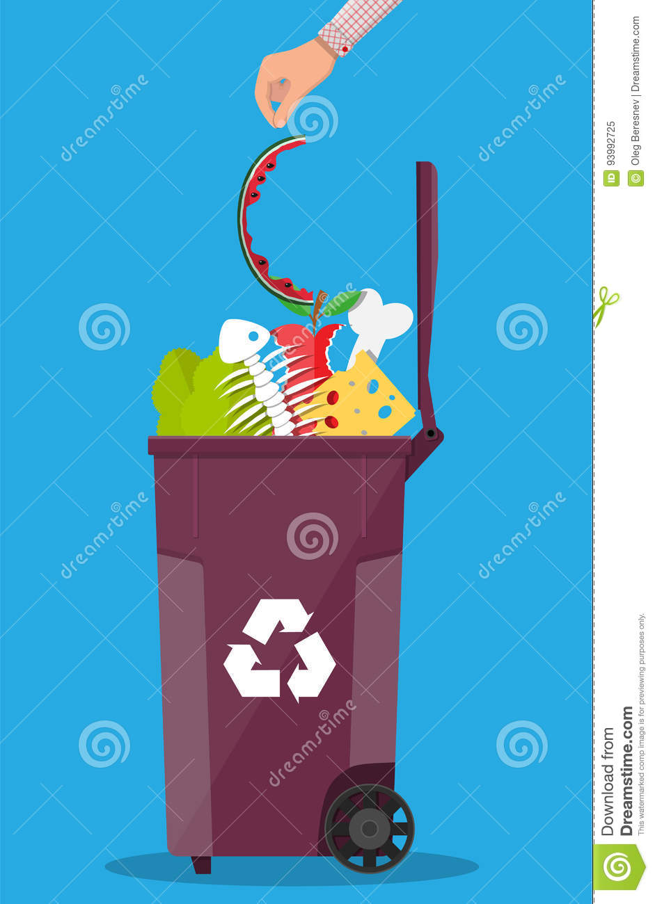 Garbage Bin Container Full Of Junk Food Stock Vector - Illustration ...