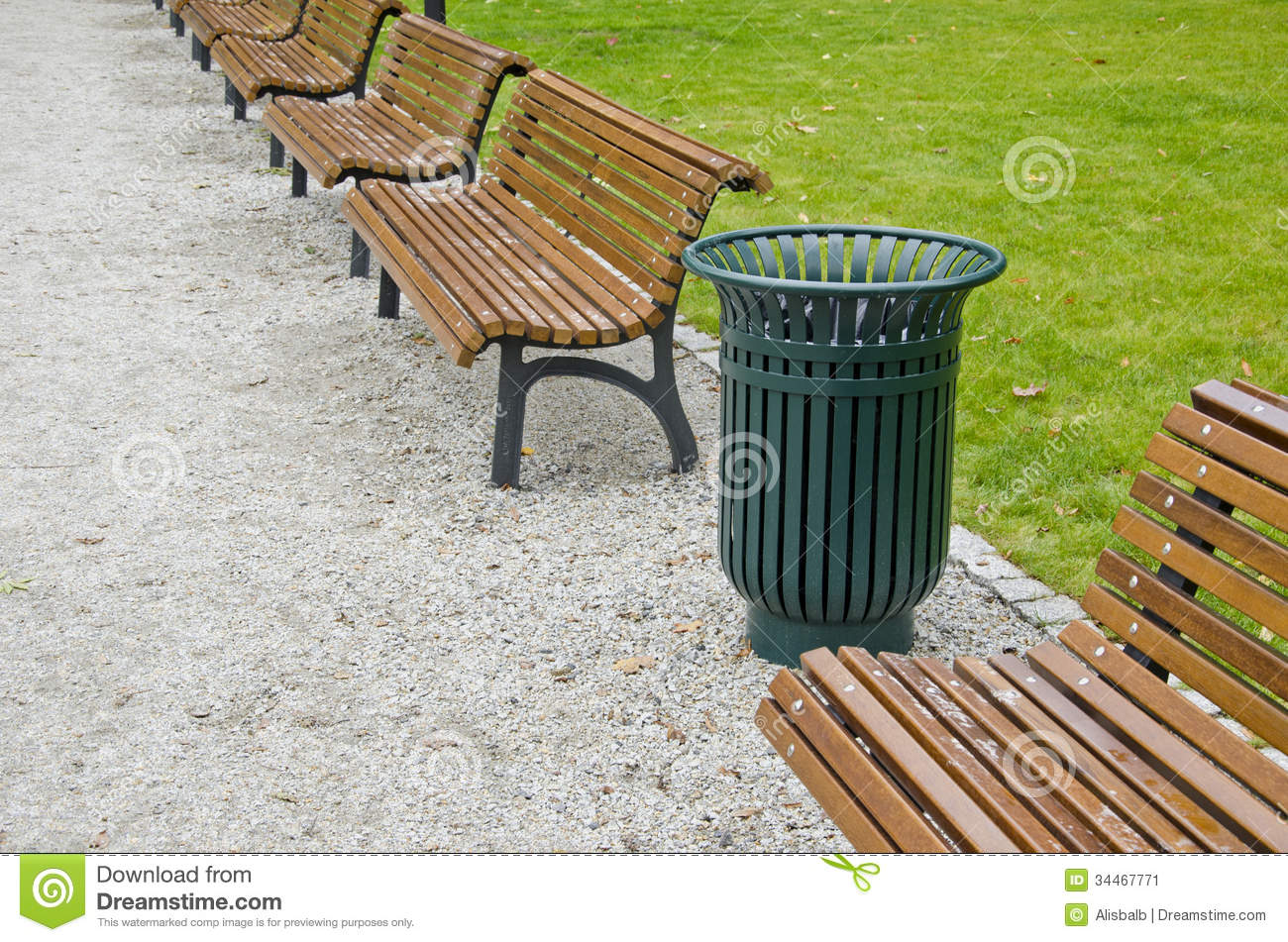 Garbage Bin And Wooden Bench In City Park Stock Image ...