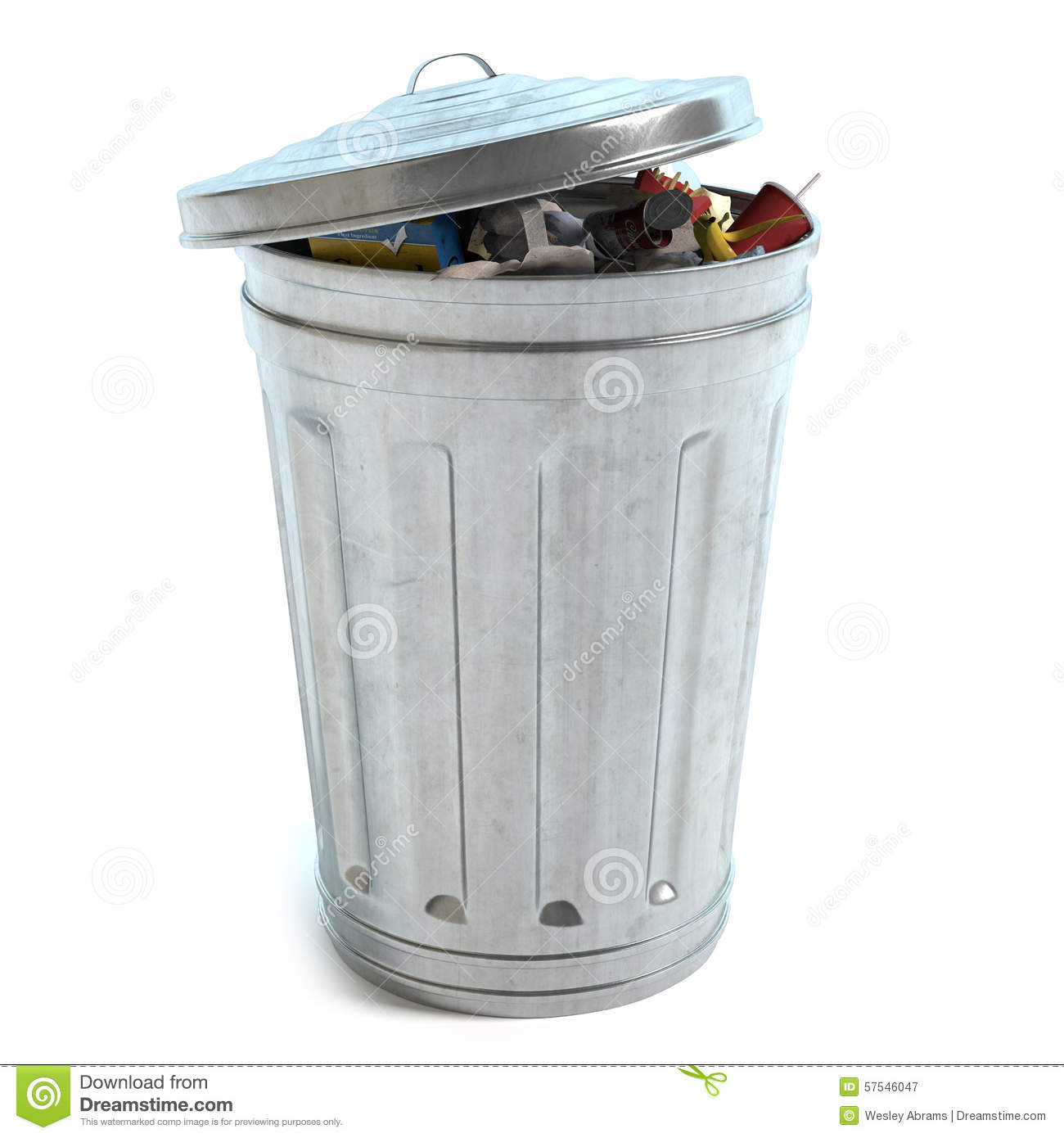 Garbage Can Full Ot Trash Stock Illustration - Image: 57546047