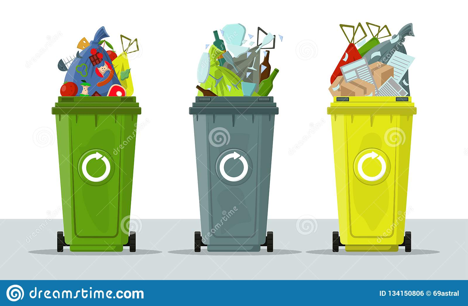 Isolated Trash Waste Recycling Categories Types Vector