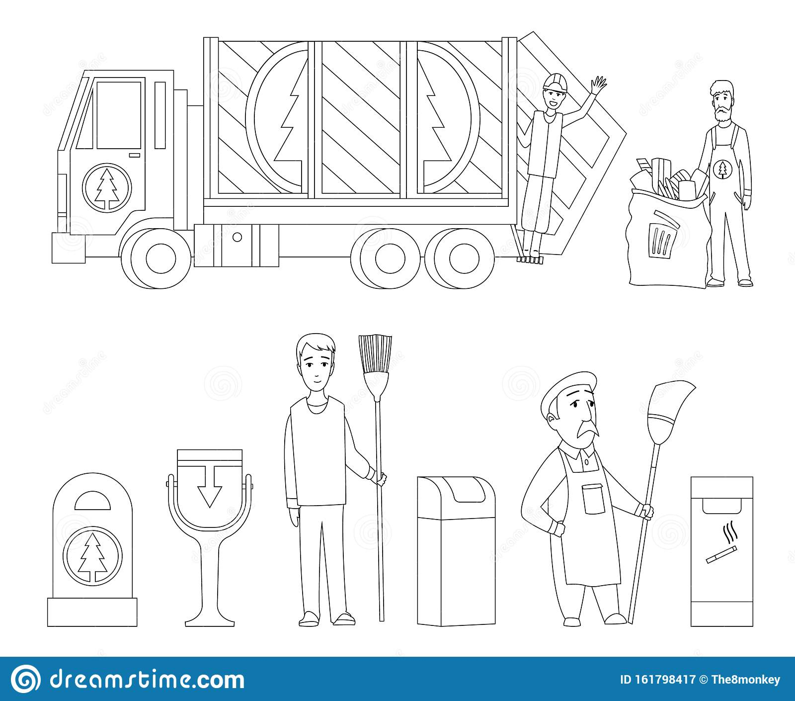 Garbage Truck Coloring Page | Online Coloring | 1410x1600