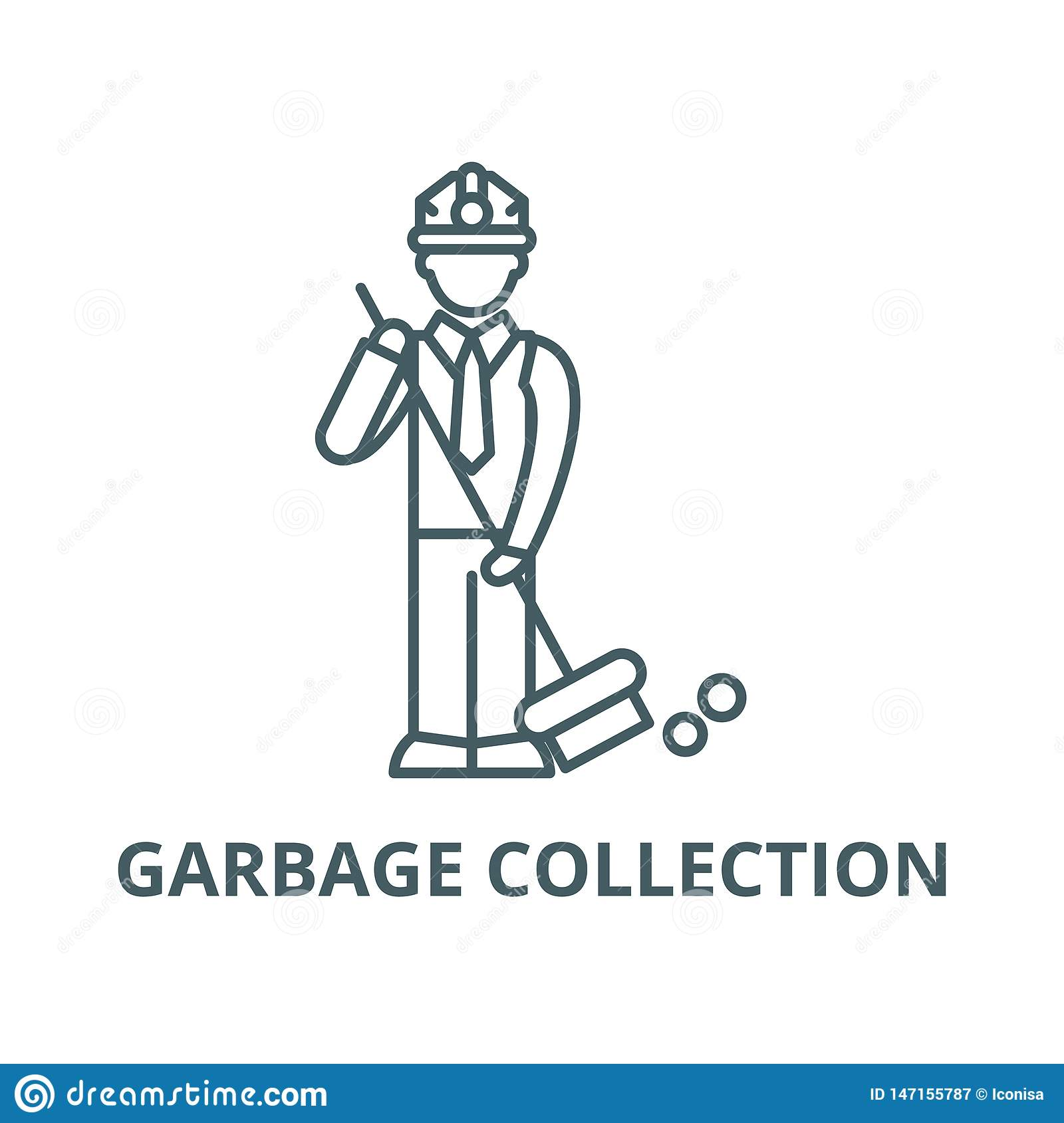 Garbage collection vector line icon, linear concept, outline sign, symbol