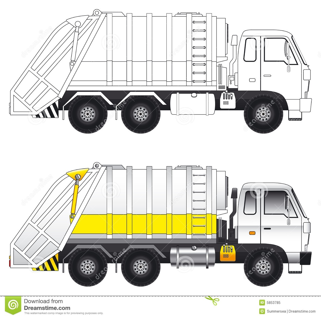 Garbage Truck Outline Garbage compactor truck vector