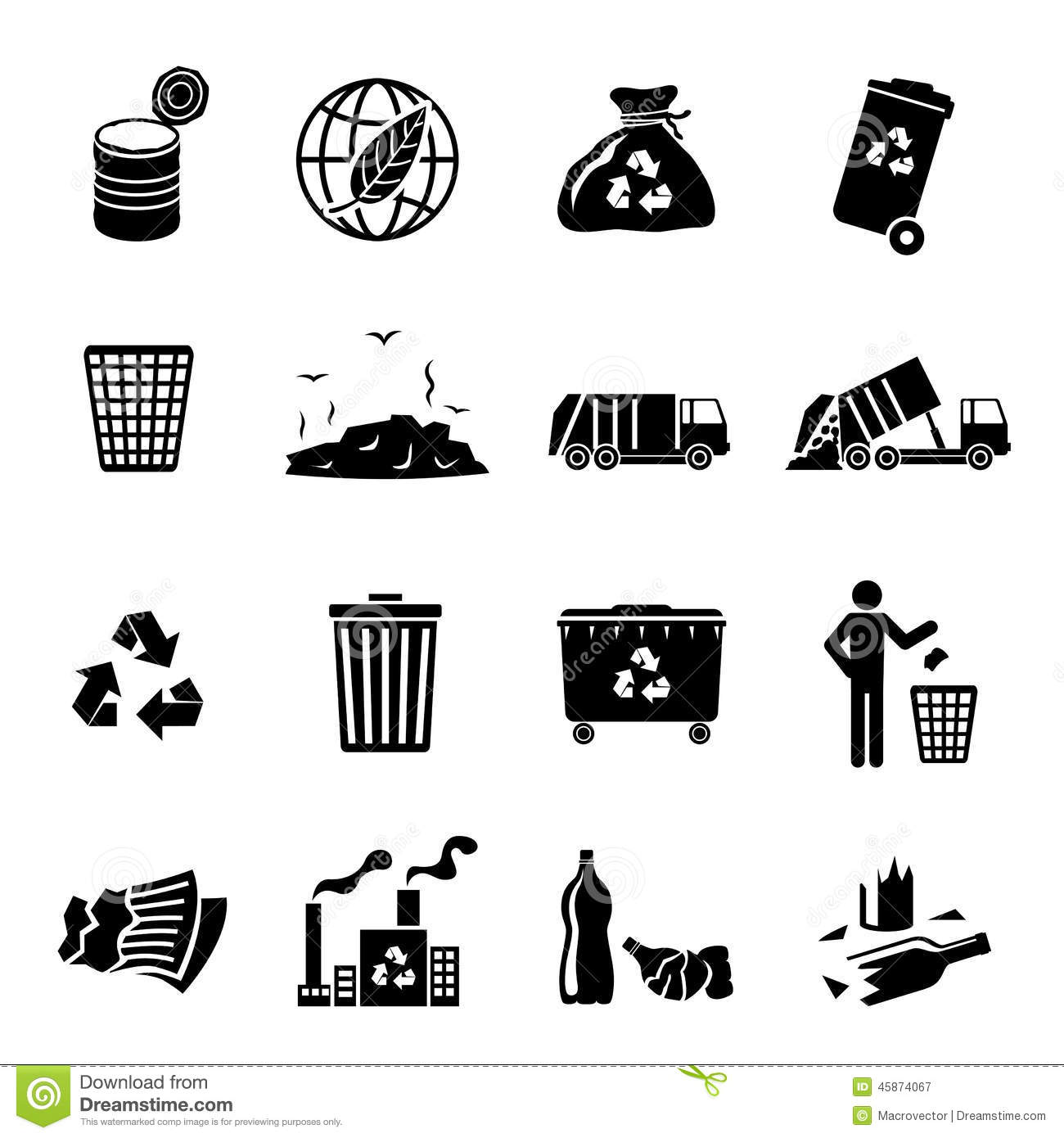 Garbage recycling icons black set of landfill trash truck dump ...