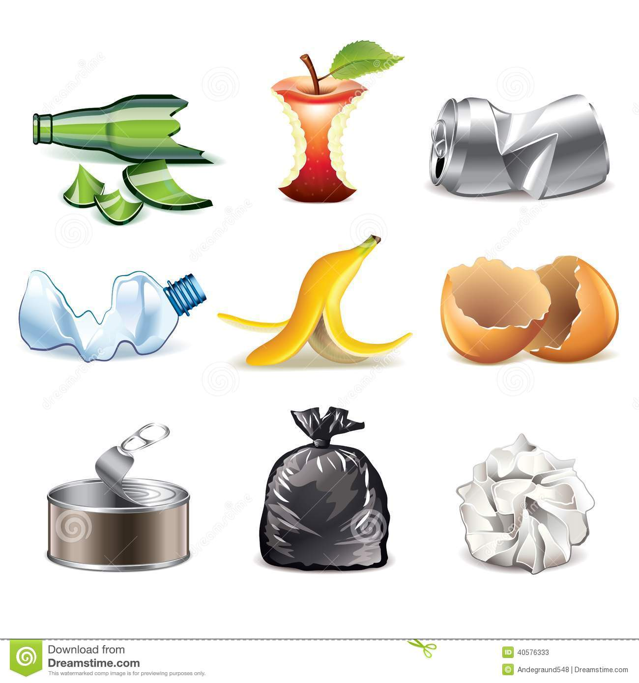 Kitchen Appliances Blogs Garbage Icons Detailed Vector Set Stock Vector Image