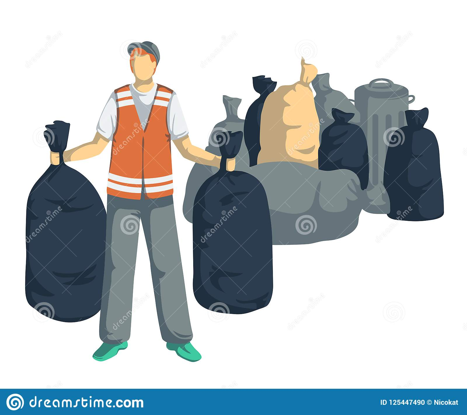 Garbage man with bags, cans, bins, containers of trash. Isolated objects on white background. Garbage recycling concept.