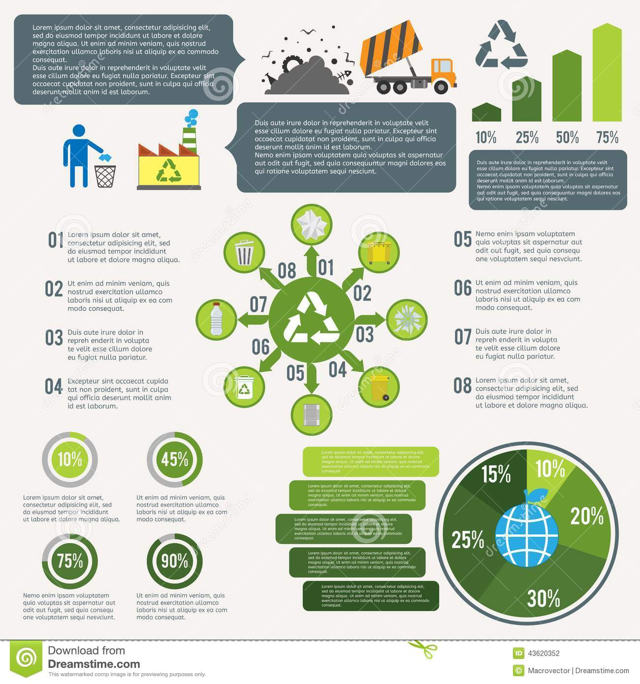 Garbage recycling infographic elements set with cleaning icons and ...